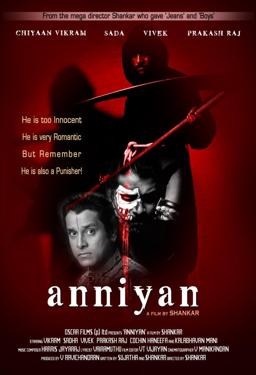 Image result for ANNIYAN – Vikram, Prakash Raj movie poster