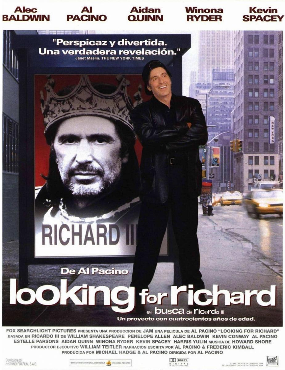 a comparison of king richard iii by william shakespeare and looking for richard by al pacino Looking for richard is a 1996 documentary film directed by al pacinothe film is pacino's directorial debut it is both a performance of selected scenes of william shakespeare's richard iii and a broader examination of shakespeare's continuing role and relevance in popular culture.