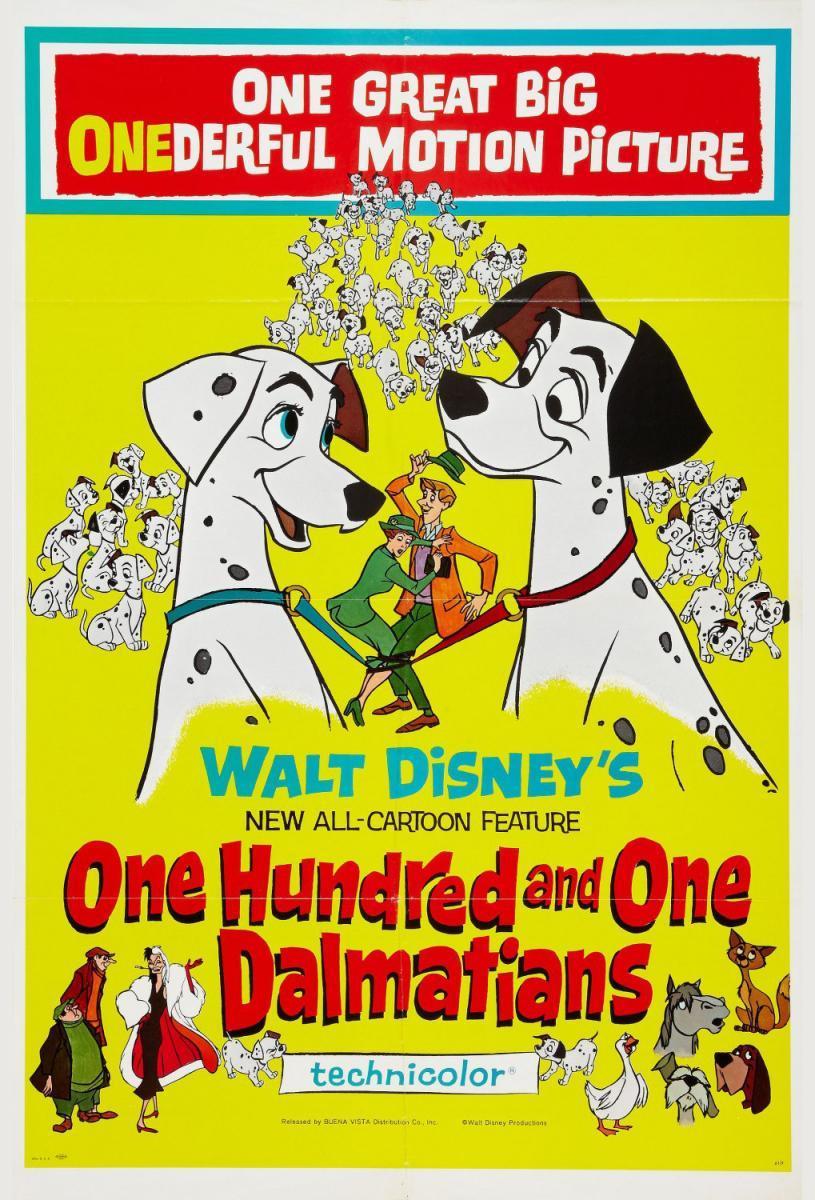 Cartel original de la película 101 dálmatas, de Walt Disney (1961).
