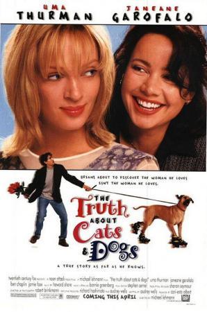 póster de la película de comedia romántica La verdad sobre perros y gatos
